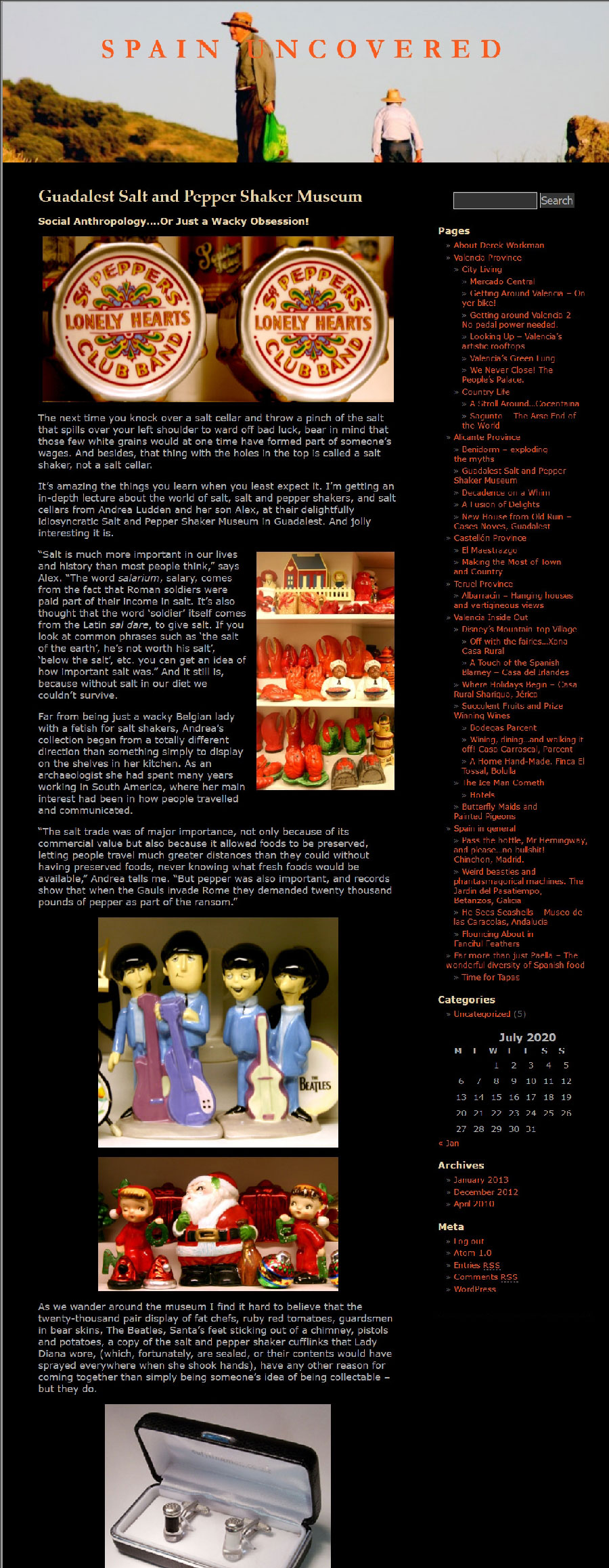 Partial Screenshot of an article written by Derek Workman about the Salt and Pepper Shaker Museum